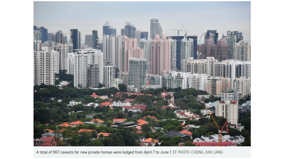 Singapore new private home sales surged 75% in May over April's low despite circuit breaker 7